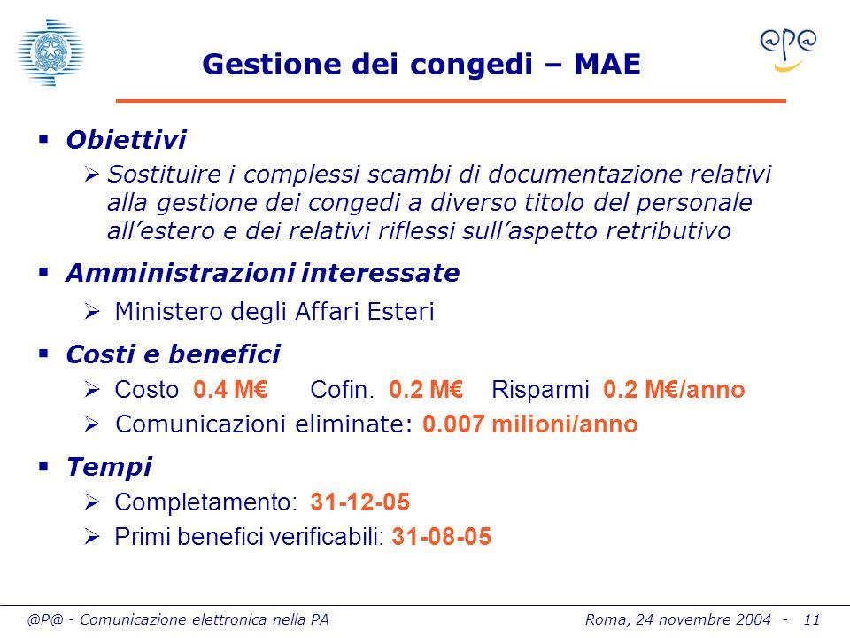 @P@ - Comunicazione elettronica nella PA Roma, 24 novembre 2004 - 11 Gestione dei congedi – MAE Obiettivi Sostituire i complessi scambi di documentazi