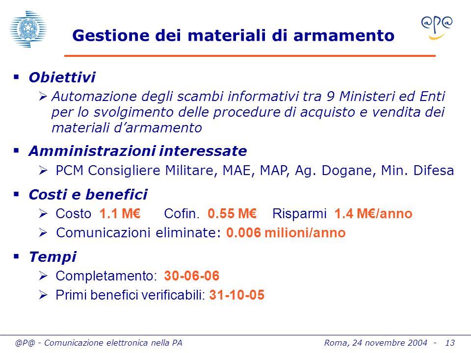 @P@ - Comunicazione elettronica nella PA Roma, 24 novembre 2004 - 13 Gestione dei materiali di armamento Obiettivi Automazione degli scambi informativ