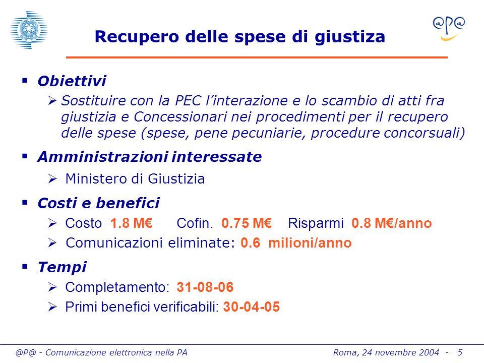 @P@ - Comunicazione elettronica nella PA Roma, 24 novembre 2004 - 5 Recupero delle spese di giustiza Obiettivi Sostituire con la PEC linterazione e lo