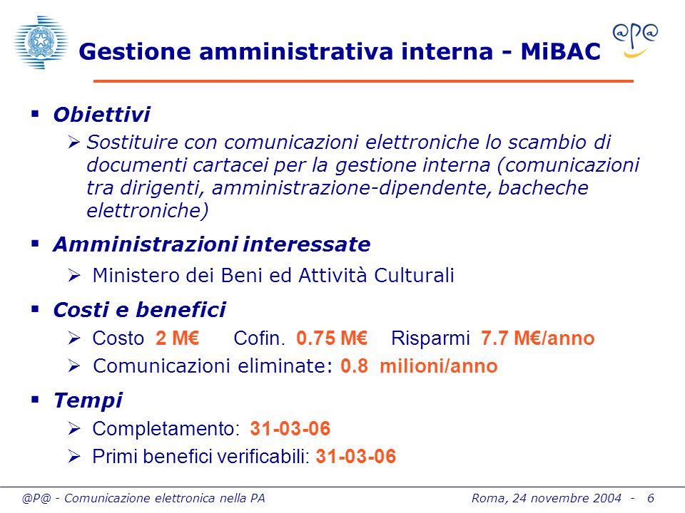 @P@ - Comunicazione elettronica nella PA Roma, 24 novembre 2004 - 6 Gestione amministrativa interna - MiBAC Obiettivi Sostituire con comunicazioni ele