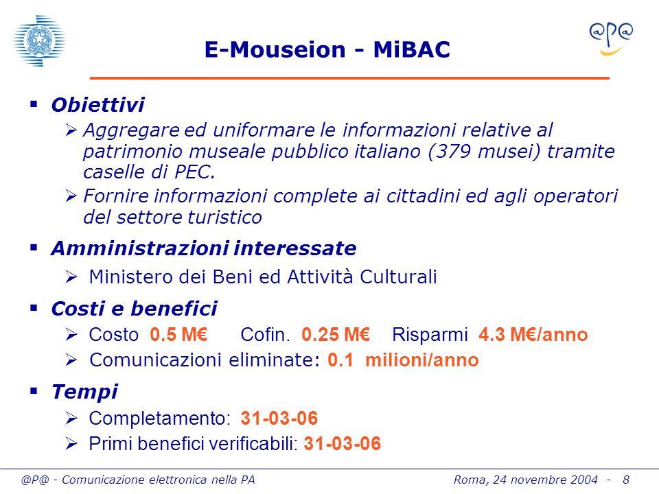 @P@ - Comunicazione elettronica nella PA Roma, 24 novembre 2004 - 8 E-Mouseion - MiBAC Obiettivi Aggregare ed uniformare le informazioni relative al patrimonio museale pubblico italiano (379 musei) tramite caselle di PEC.