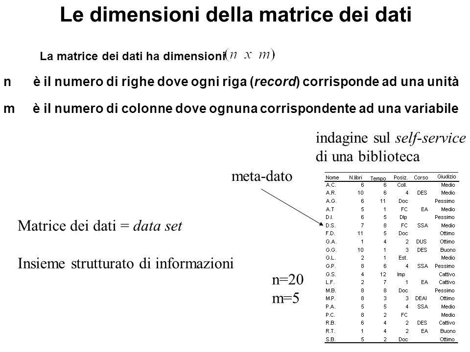 I dati mancanti I cosiddetti missing values sono quelli dovuti a mancate rilevazioni insanabili.