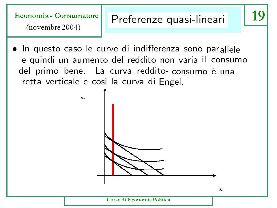 19 Economia - Consumatore (novembre 2004) Corso di Economia Politica