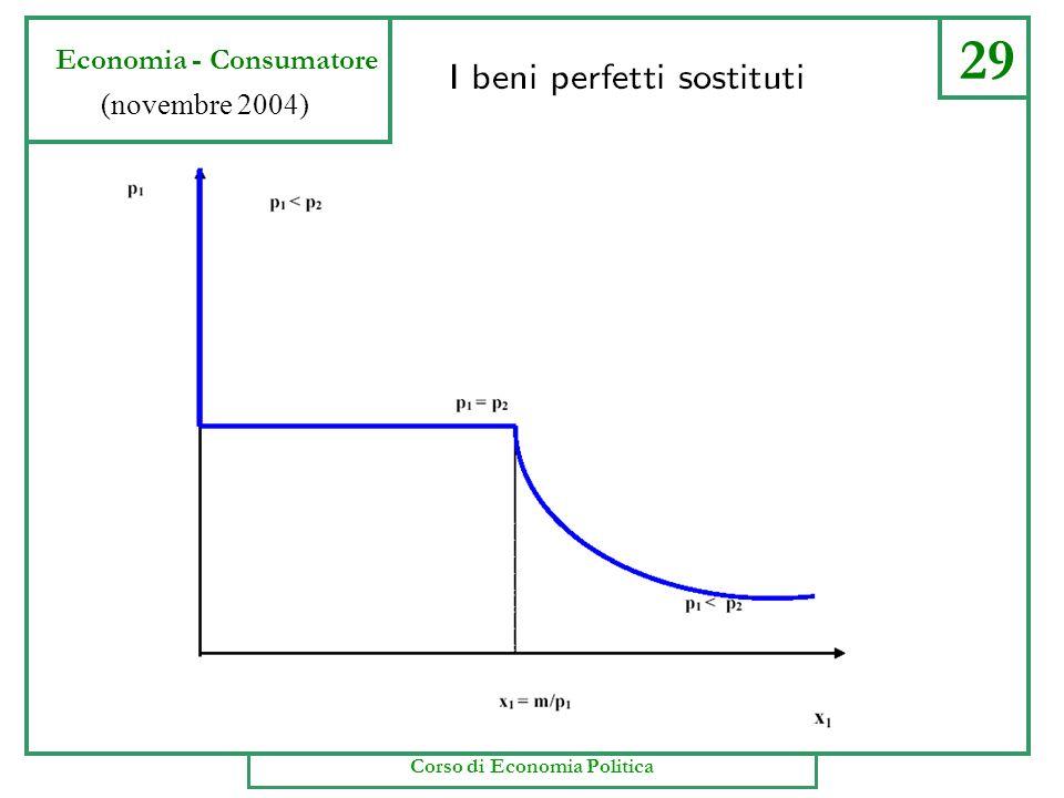 29 Economia - Consumatore (novembre 2004) Corso di Economia Politica