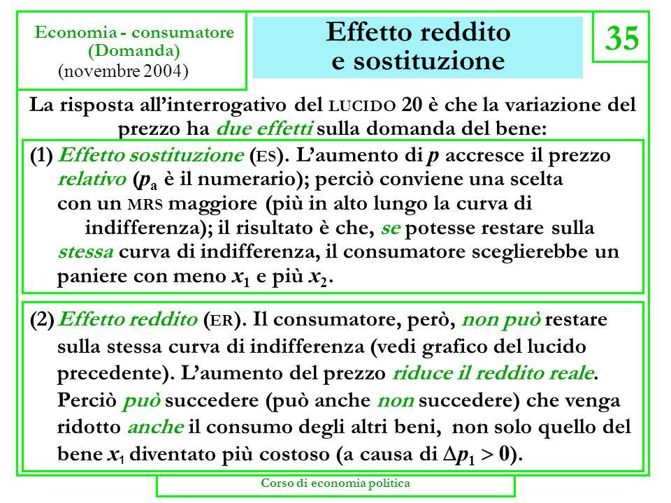 Effetto reddito e sostituzione 35 Economia - consumatore (Domanda) (novembre 2004) La risposta allinterrogativo del LUCIDO 20 è che la variazione del