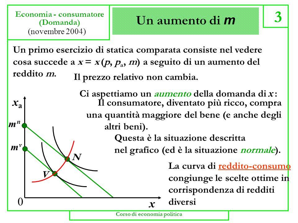 Beni normali e beni inferiori 4 Economia - consumatore (Domanda) (novembre 2004) Un bene viene detto normale se il suo consumo aumenta al crescere del reddito.