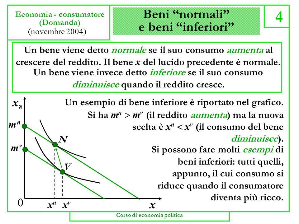 Beni normali e beni inferiori 4 Economia - consumatore (Domanda) (novembre 2004) Un bene viene detto normale se il suo consumo aumenta al crescere del