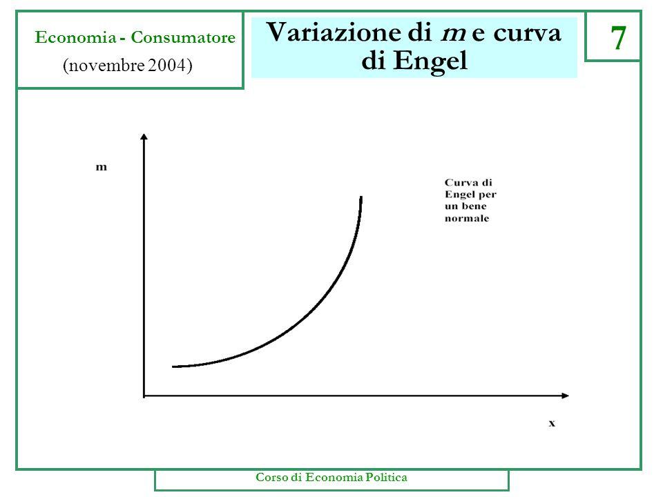 Variazione di m e curva di Engel 7 Economia - Consumatore (novembre 2004) Corso di Economia Politica