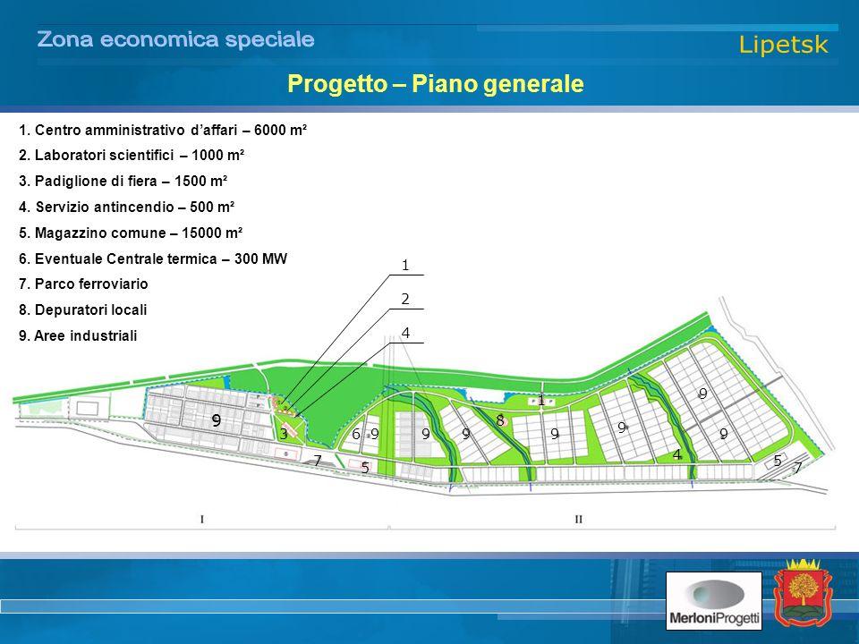 Progetto – Piano generale 1. Centro amministrativo daffari – 6000 m² 2.