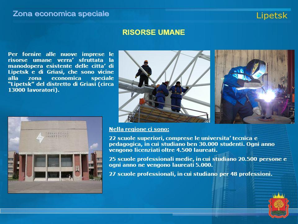 RISORSE UMANE Per fornire alle nuove imprese le risorse umane verra sfruttata la manodopera esistente delle citta di Lipetsk e di Griasi, che sono vicine alla zona economica speciale Lipetsk del distretto di Griasi (circa 13000 lavoratori).