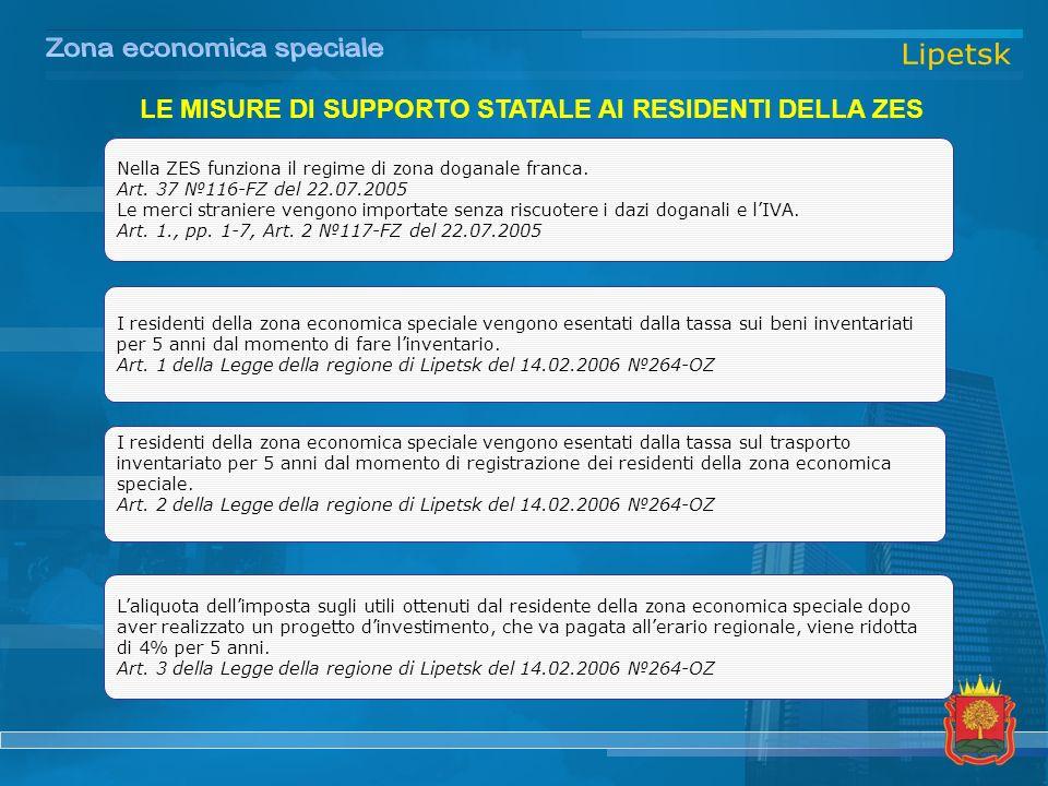 LE MISURE DI SUPPORTO STATALE AI RESIDENTI DELLA ZES Nella ZES funziona il regime di zona doganale franca.