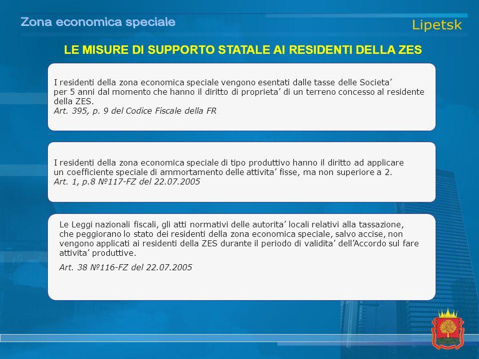 I residenti della zona economica speciale vengono esentati dalle tasse delle Societa per 5 anni dal momento che hanno il diritto di proprieta di un terreno concesso al residente della ZES.