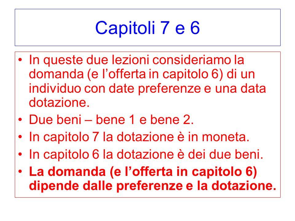 Capitoli 7 e 6 In queste due lezioni consideriamo la domanda (e lofferta in capitolo 6) di un individuo con date preferenze e una data dotazione.