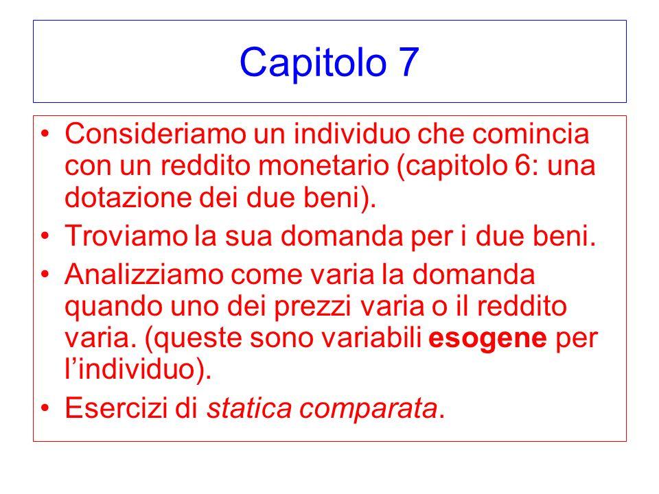 Capitolo 7 Consideriamo un individuo che comincia con un reddito monetario (capitolo 6: una dotazione dei due beni).