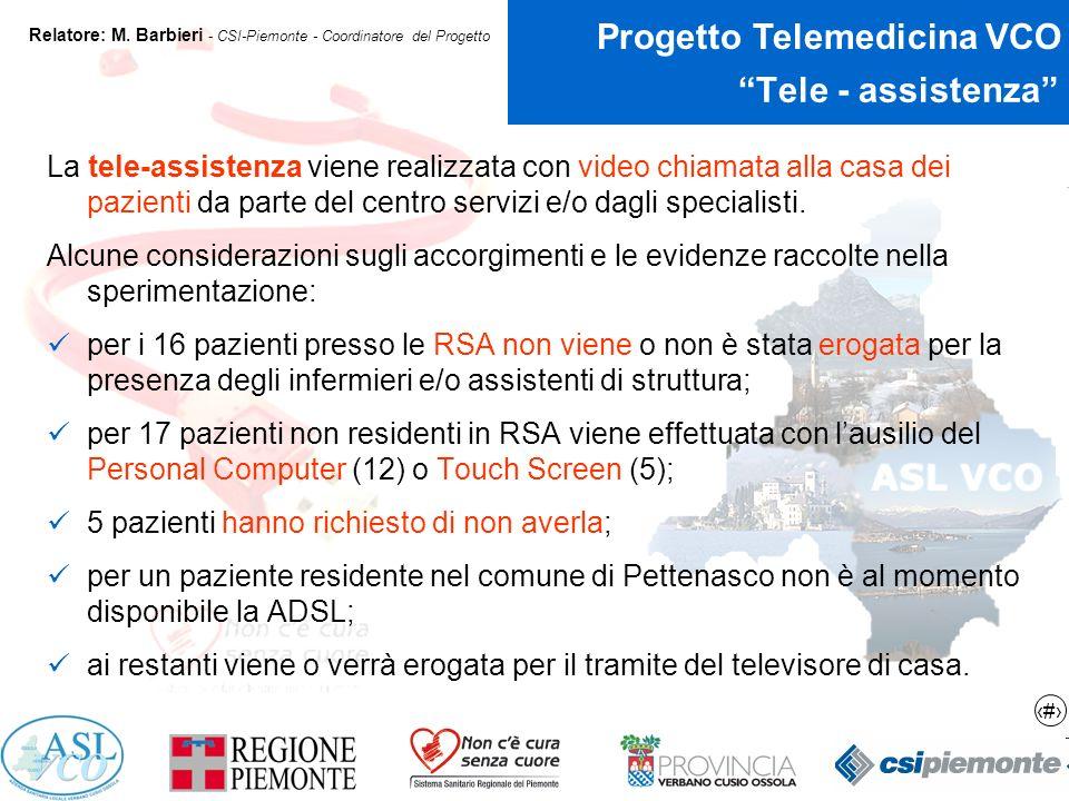16 Progetto Telemedicina VCO Relatore: M.