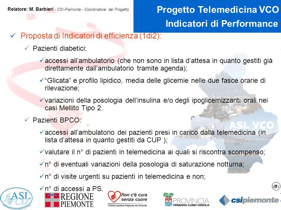 18 Progetto Telemedicina VCO Relatore: M.
