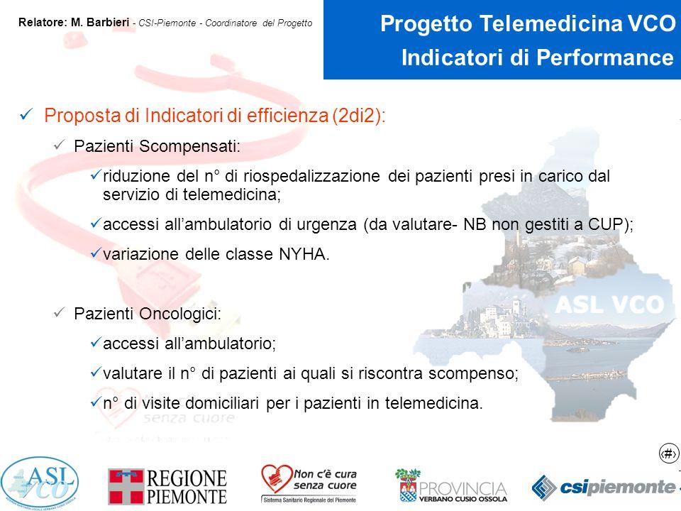 19 Progetto Telemedicina VCO Relatore: M.