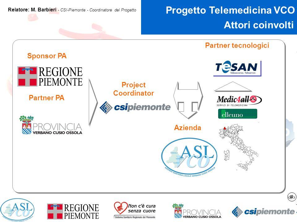 3 Progetto Telemedicina VCO Relatore: M.