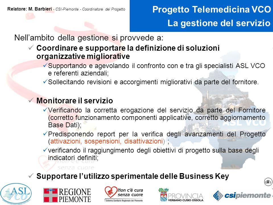 6 Progetto Telemedicina VCO Relatore: M.