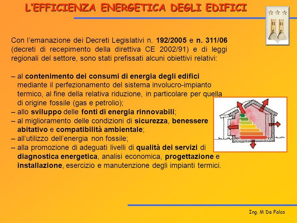 LEFFICIENZA ENERGETICA DEGLI EDIFICI Con lemanazione dei Decreti Legislativi n. 192/2005 e n. 311/06 (decreti di recepimento della direttiva CE 2002/9