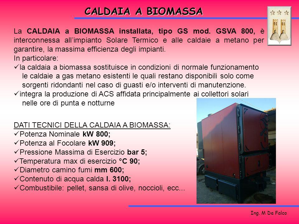 Ing. M De Falco La CALDAIA a BIOMASSA installata, tipo GS mod. GSVA 800, è interconnessa allimpianto Solare Termico e alle caldaie a metano per garant