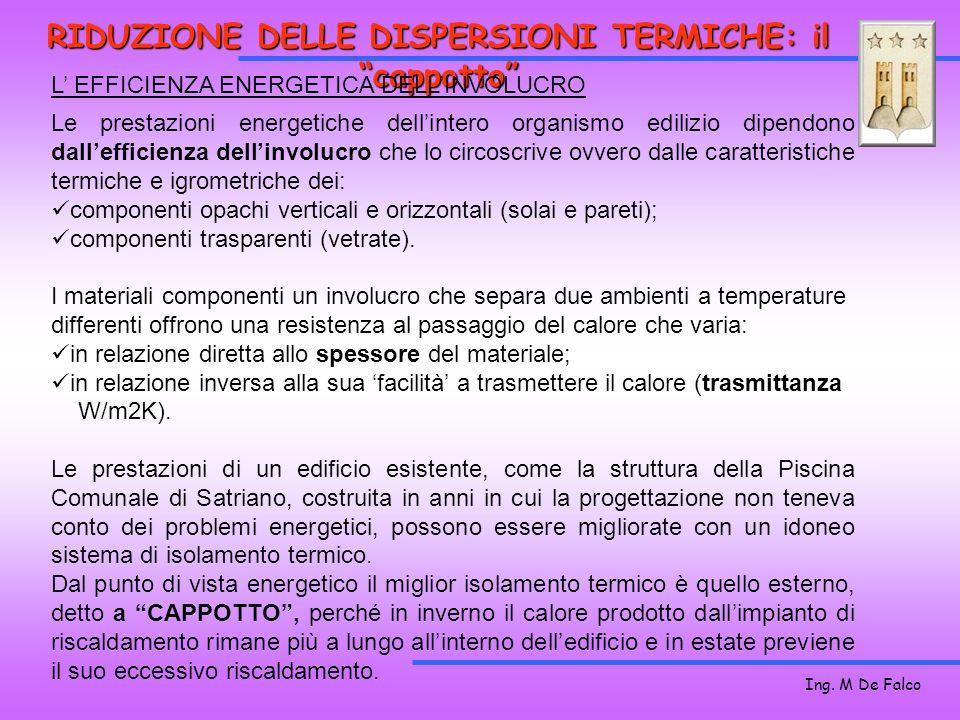 Ing. M De Falco RIDUZIONE DELLE DISPERSIONI TERMICHE: il cappotto Le prestazioni energetiche dellintero organismo edilizio dipendono dallefficienza de