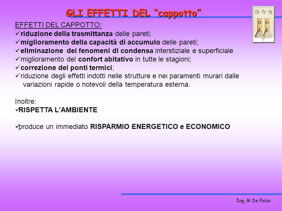 Ing. M De Falco GLI EFFETTI DEL cappotto riduzione della trasmittanza delle pareti; miglioramento della capacità di accumulo delle pareti; eliminazion