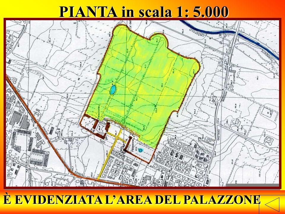 È EVIDENZIATA LAREA DEL PALAZZONE PIANTA in scala 1: 5.000