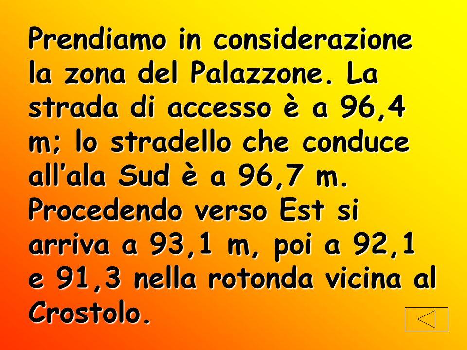 Prendiamo in considerazione la zona del Palazzone. La strada di accesso è a 96,4 m; lo stradello che conduce allala Sud è a 96,7 m. Procedendo verso E