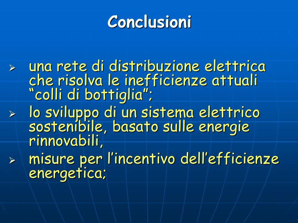 Conclusioni una rete di distribuzione elettrica che risolva le inefficienze attuali colli di bottiglia; una rete di distribuzione elettrica che risolv