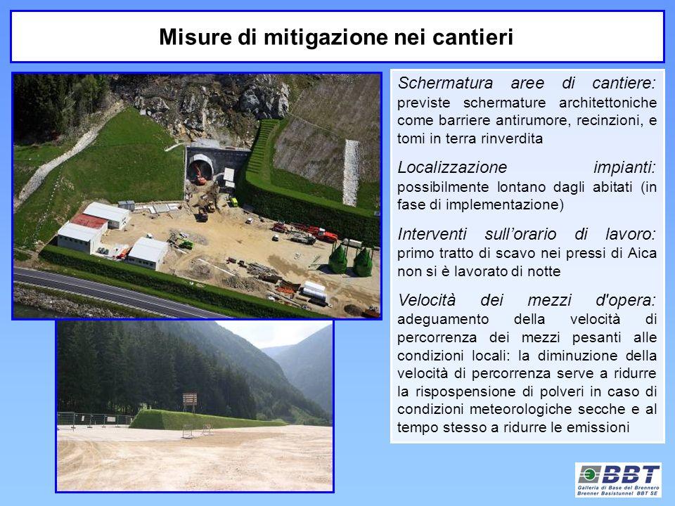 Schermatura aree di cantiere: previste schermature architettoniche come barriere antirumore, recinzioni, e tomi in terra rinverdita Localizzazione imp