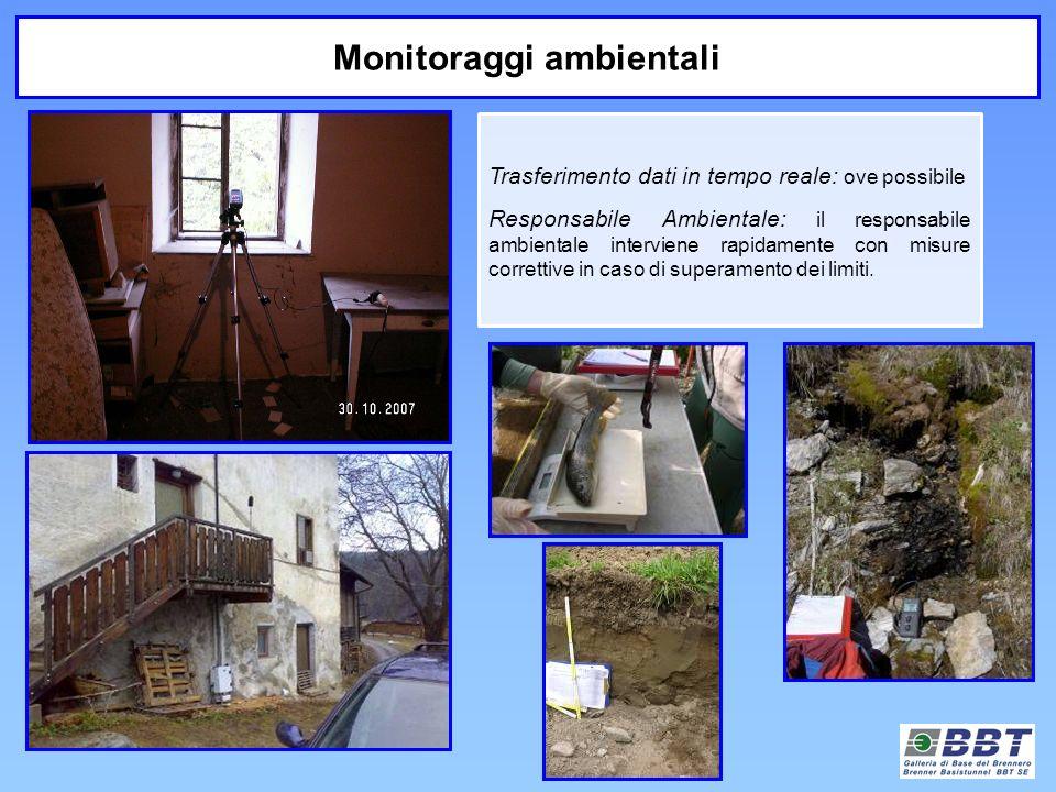 Monitoraggi ambientali Trasferimento dati in tempo reale: ove possibile Responsabile Ambientale: il responsabile ambientale interviene rapidamente con