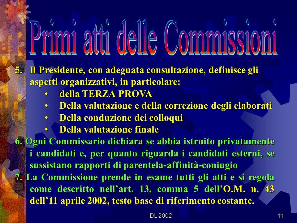 DL 200210 1.Il Presidente verifica la composizione delle commissioni 2.Il Presidente fissa, sentite le Commissioni, i tempi e le modalità di effettuazione delle riunioni preliminari delle singole commissioni 3.Il Presidente delega, un suo SOSTITUTO, per ogni Commissione, per garantirne la funzionalità.