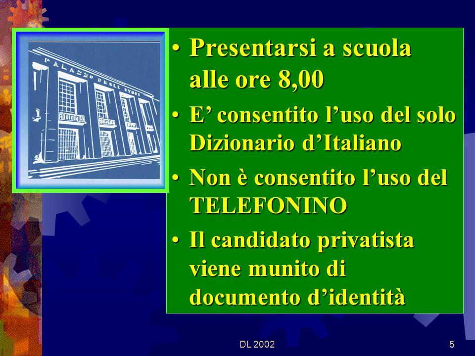 DL 20024 Gli esami iniziano, con la prima prova scritta, il 19 giugno 2002, alle ore 8,30