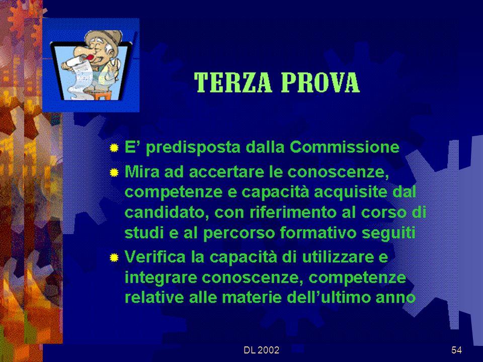 DL 200253 I Commissari formulano proposte in numero doppio rispetto alla tipologia o alle tipologie prescelte in sede di definizione della struttura della prova La Commissione stabilisce la durata in base alla complessità della prova Nella stessa giornata la Commissione stabilisce il diario della correzione delle prove scritte