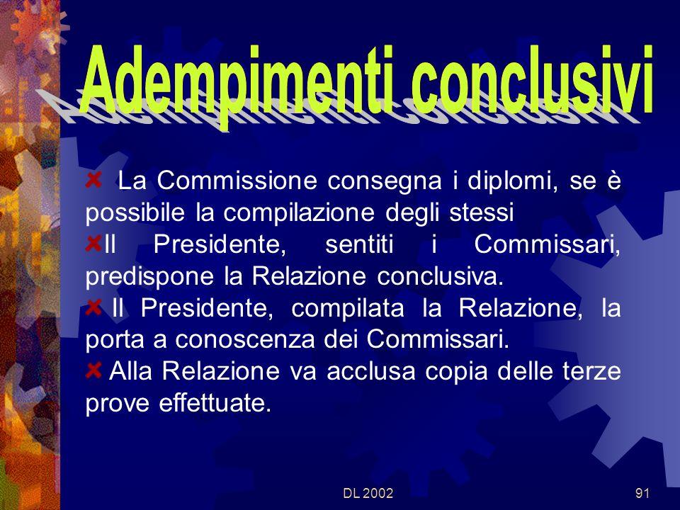 DL 200290 La Commissione si riunisce subito dopo i colloqui La Commissione provvede allassegnazione dei voti e alla compilazione degli atti conseguenti.