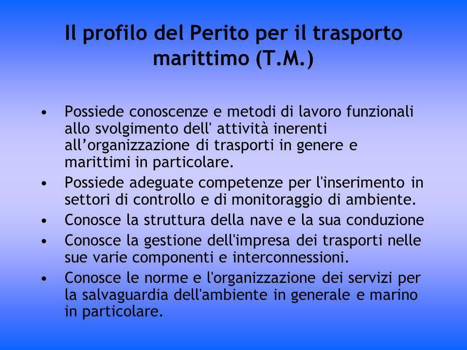 Il profilo del Perito per il trasporto marittimo (T.M.) Possiede conoscenze e metodi di lavoro funzionali allo svolgimento dell' attività inerenti all