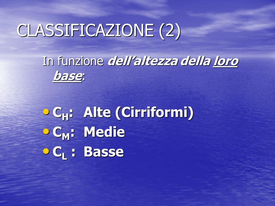 CLASSIFICAZIONE (2) In funzione dellaltezza della loro base: C H :Alte (Cirriformi) C H :Alte (Cirriformi) C M :Medie C M :Medie C L :Basse C L :Basse