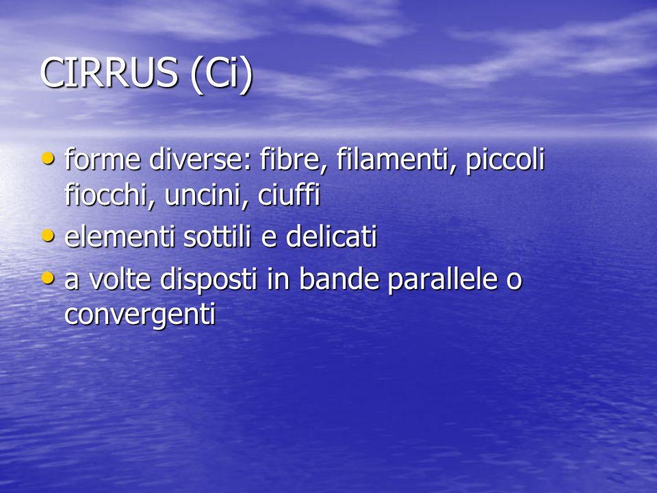 CIRRUS (Ci) forme diverse: fibre, filamenti, piccoli fiocchi, uncini, ciuffi forme diverse: fibre, filamenti, piccoli fiocchi, uncini, ciuffi elementi