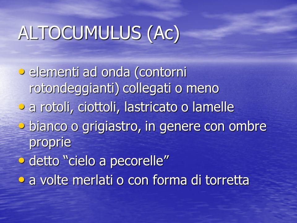 ALTOCUMULUS (Ac) elementi ad onda (contorni rotondeggianti) collegati o meno elementi ad onda (contorni rotondeggianti) collegati o meno a rotoli, cio