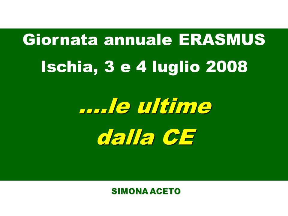 ….le ultime dalla CE SIMONA ACETO SIMONA ACETO Giornata annuale ERASMUS Ischia, 3 e 4 luglio 2008