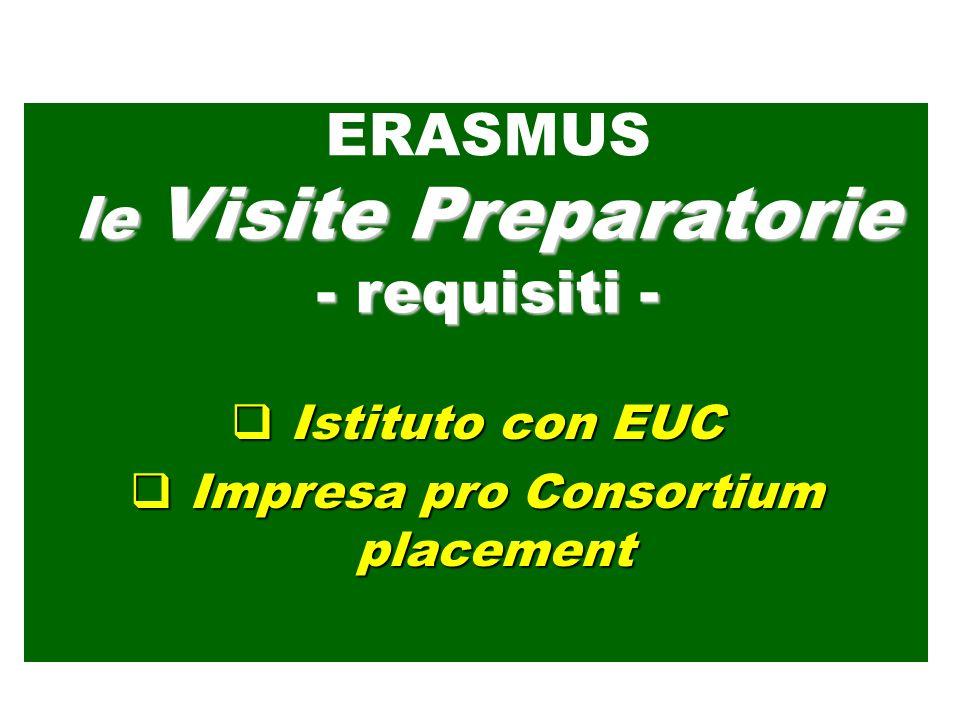 Istituto con EUC Istituto con EUC Impresa pro Consortium placement Impresa pro Consortium placement ERASMUS le Visite Preparatorie - requisiti -