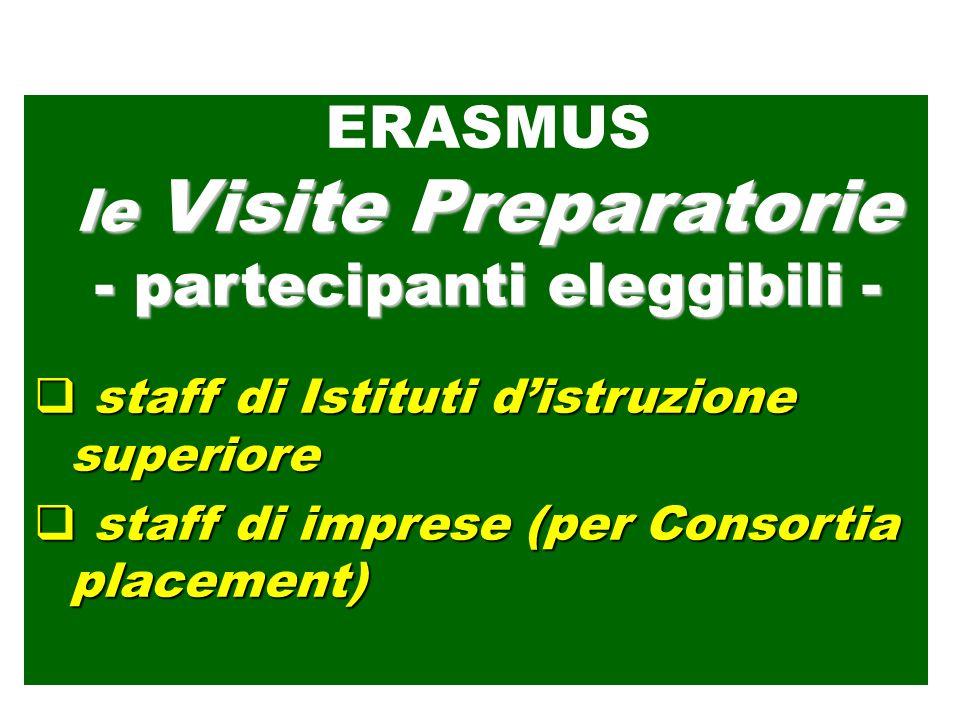 staff di Istituti distruzione superiore staff di Istituti distruzione superiore staff di imprese (per Consortia placement) staff di imprese (per Consortia placement) ERASMUS le Visite Preparatorie - partecipanti eleggibili -