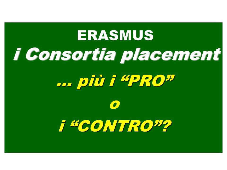 … più i PRO o i CONTRO? ERASMUS i Consortia placement