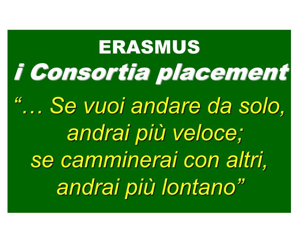… Se vuoi andare da solo, andrai più veloce; se camminerai con altri, andrai più lontano ERASMUS i Consortia placement