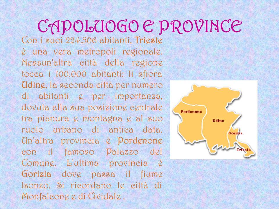 CAPOLUOGO E PROVINCE Con i suoi 224.506 abitanti, Trieste è una vera metropoli regionale. Nessun'altra città della regione tocca i 100.000 abitanti: l