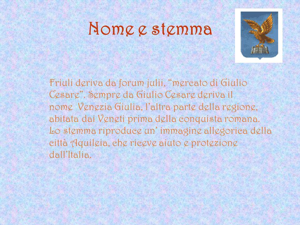 Nome e stemma Friuli deriva da forum julii, mercato di Giulio Cesare. Sempre da Giulio Cesare deriva il nome Venezia Giulia, laltra parte della region