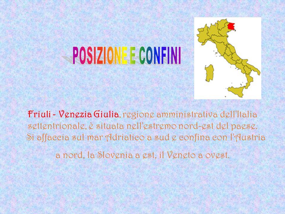 Friuli - Venezia Giulia, regione amministrativa dell'Italia settentrionale, è situata nell'estremo nord-est del paese. Si affaccia sul mar Adriatico a
