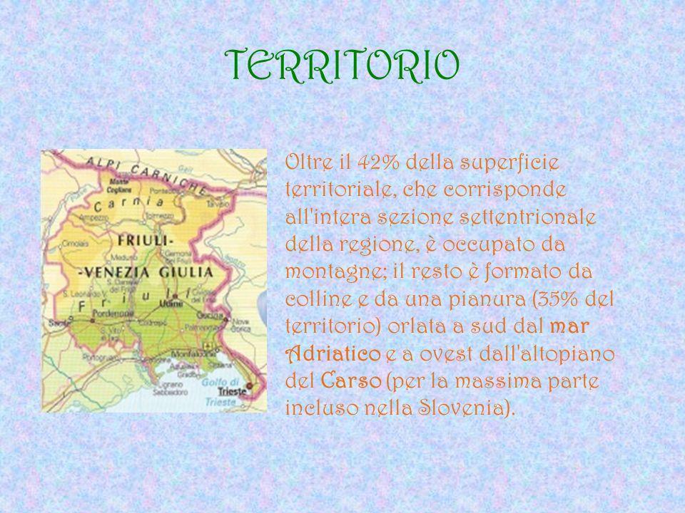 TERRITORIO Oltre il 42% della superficie territoriale, che corrisponde all'intera sezione settentrionale della regione, è occupato da montagne; il res