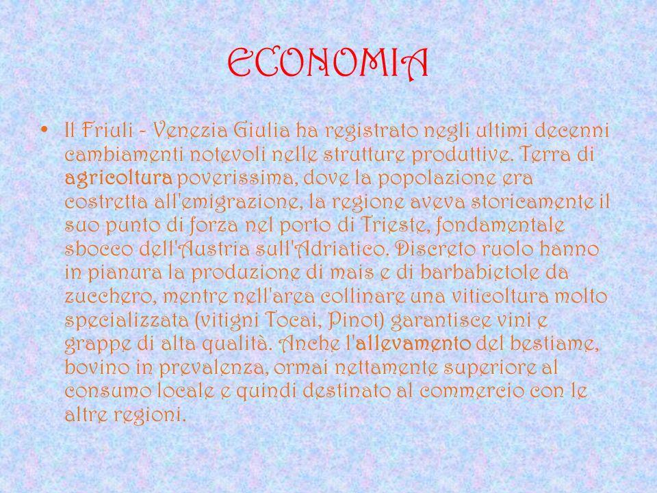 ECONOMIA Il Friuli - Venezia Giulia ha registrato negli ultimi decenni cambiamenti notevoli nelle strutture produttive. Terra di agricoltura poverissi